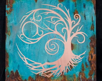 Swirly Copper tree of life patina art in blues SALE price
