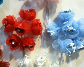 2 Bunches of Satin Organza Flowers with Diamonds Wedding Favors Gift Sweet 16 You Pick Color