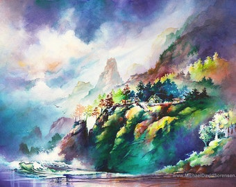 Pacific Cliffs- Watercolor Painting Print by Michael David Sorensen. Ocean. Sea. Rocky shore Rugged Coastline Coast Art Colorful Blue-Green