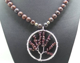 Handmade Garnet and Bloodstone beaded necklace with wire wrapped Garnet Tree of Life pendant.