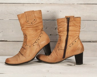 Ankle boots, Western cowgirl boots, Vintage leather boots, Women's boots, Tan color boots, Boho leather boots, Ladies leather boots