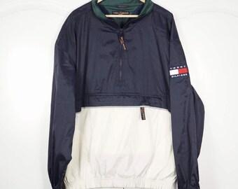 TOMMY HILFIGER 90's Vintage Windbreaker Jacket Pullover M L Half zip jMGF3ofh