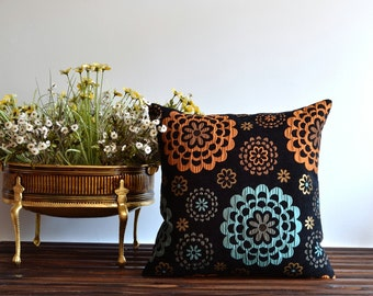 Shabby Chic Floral Pillow - 20x20 Throw Pillow Cover - Black Floral Pillow Cover - Upholstery Fabric Pillow
