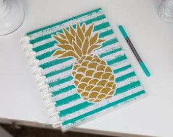 """Gold Pineapple with teal stripes discbound bullet journal, Reversible covers, Available in """"Covers Only"""" or """"Full Starter Kit"""" options."""