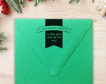 Return Address Stamp Banner Rubber Stamp Self-Inking Whimsical Address Wedding Gift Housewarming Gift Christmas Gift