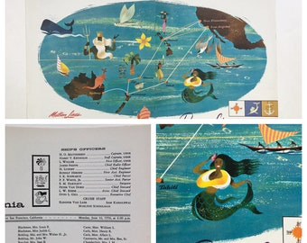 1958 Cruise Ship Mermaid Litho San Francisco Los Angeles Adv. Ad. Matsonia Hula Dancer Figurine Passenger List Menu Rel. Vintage