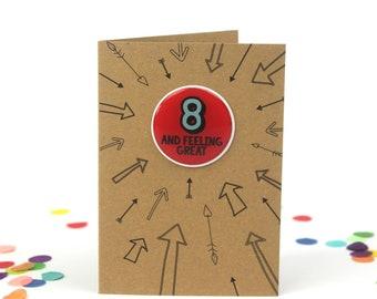 Eighth birthday card, 8th Birthday card, Boy eighth birthday, Girl eighth birthday, birthday card eight, eighth birthday card, cards