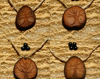 Tree of life 3 / Avocado stone necklace , avocado pit pendant , seed carving / natural jewelry , handcraft