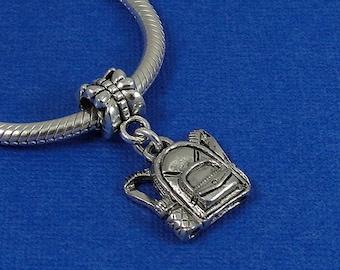 Backpack European Dangle Bead Charm - Silver Backpack Charm for European Bracelet