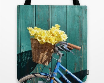Photo Tote Bag Vintage Bicylce Bag Teal Rustic Tote Bag Choose your size