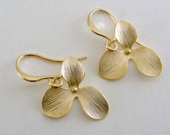 Gold Earrings -  Dogwood Jewelry -  Flower Earrings -  Dainty Earrings - Dangle Earrings - Handmade Jewelry