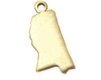 Blank -  Raw Brass Mississippi State Charms (6X) (A423-1)