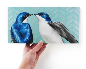 Turquoise Tree Swallow painting - love bird art - herringbone geometric pattern - birdwatching gift - bird pair painting - wedding couple