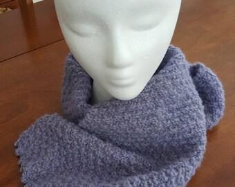 Angora Rabbit Purple Handspun Hand Knit Scarf