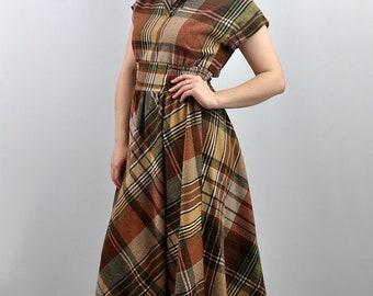Vintage 70s Check Wool Mix Midi Dress