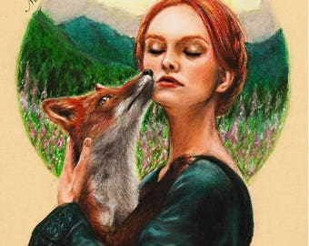 Fox in The Mountains - ORIGINAL Drawing