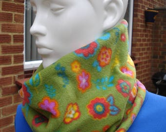 Green Fleece Cowl Neck Warmer with Multi Coloured Flowers Two Sizes