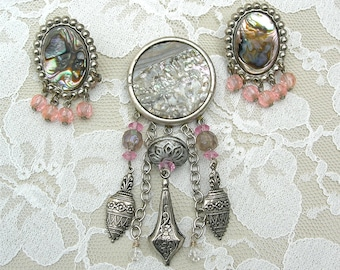 Boutique Artisan Abalone Pin & Earrings, pink crystal beads and metal charms, vintage