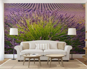 Wall Mural Floral, Lavender Wallpaper, Flower Wall Covering