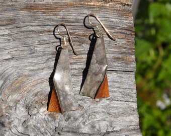 Tall pinched triangle - brown and grey foldformed copper earrings