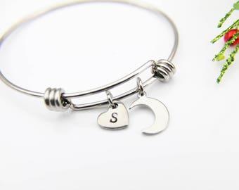 Eclipse Bracelet, Celestial Bracelet, Crescent Moon Bracelet, Moon Bangle, Personalized Gift, Best Friend Gift, Coworker Gift