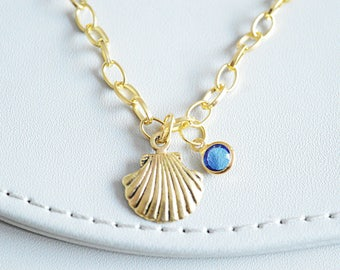 Simple Bracelet, Delicate Bracelet, Dainty Bracelet, Sea shell Bracelet, Clam charm, Sea jewelry, Gold Sea Shell, Sea Shell Gift, Girls Gift