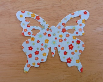 Butterfly #2- Iron on Fabric Applique - 11cm x 9cm fabric iron on butterfly, made to order, choose your fabrics, ships from UK