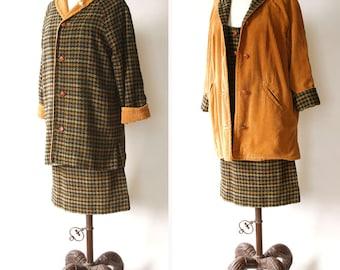 vintage 1960s 3 piece ladies suit <> 1960s houndstooth tweed skirt, overcoat, and vest ensemble <> tweed and corduroy reversible jacket