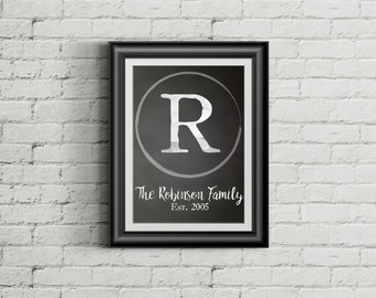 Customizable Chalkboard Initial Monogram with Family Name and Established Date Wall Art