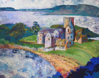 Inchcolm Abbey giclee print from an original painting by Pamela Palmer
