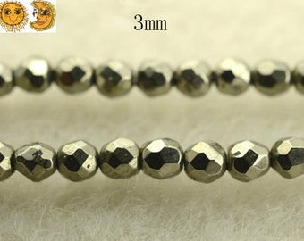 15 inch strand of Iron pyrite faceted (64 faces) round beads 3mm