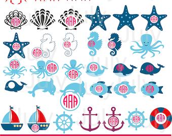 Sea Animal Monogram svg, Sea Animal Clipart, Sea svg files, Ocean Clipart, Ocean Svg, Nautical  svg, dxf, png, eps, ai, Nautical Clipart