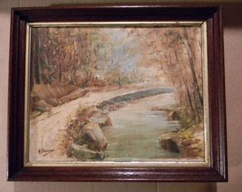 Signed . Vintage Landscape Oil Painting on Canvas in Walnut Frame