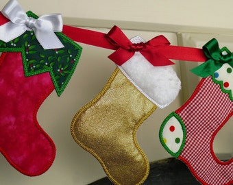 "Christmas Stocking In The Hoop Banner Machine Embroidery Design Applique Patterns all done In-The-Hoop 3 variations 3 sizes 4"", 5"" and 6"""