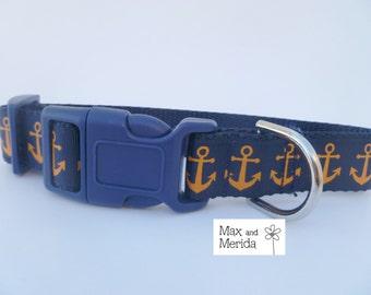 adjustable dog collar, Nautical Modern Sailor Anchor, Navy/Orange Print, pet gift, fur baby, Pet Owner Gift, Pampered Pet, Dog Accessories