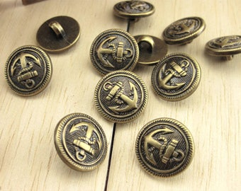 25 Anchor Antique Bronze Shank Vintage Hole Buttons 15x15mm