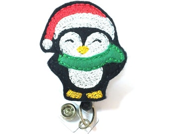 Santa Penguin - Holiday Badge Holders - Cute Badge Reels - Unique Retractable ID Badge Holder - Felt Badge Reel - RN Badge - BadgeBlooms