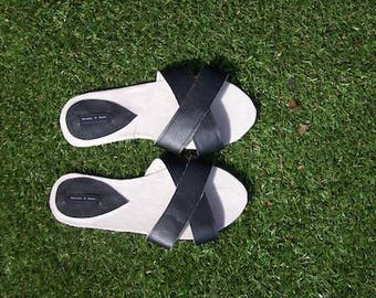 Black slide shoes womens slider shoes cross over black  sliders handmade shoes faux leather vegan slides