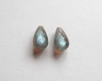 Flashy AAA Grade Mini Labradorite Half Top Drilled Faceted Teardrop 7x10 mm One Pair Perfect for earrings G6432