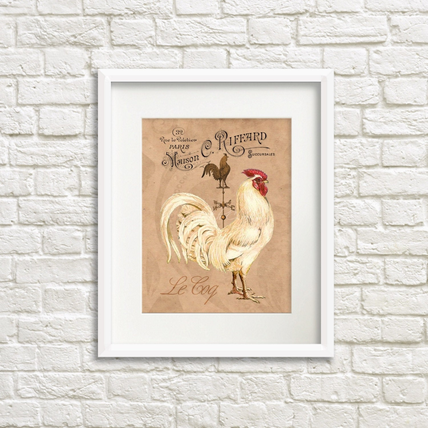 Rooster Kitchen Decor French Country: French Country Rooster Art Print Rooster Kitchen Decor