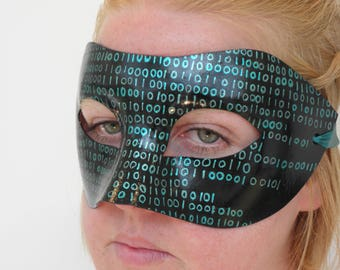 Matrix binary code black green mask with ribbon ties