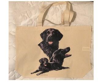 Flat Coat Retriever Dog  100% Cotton Tote  Shopper Bag For Life