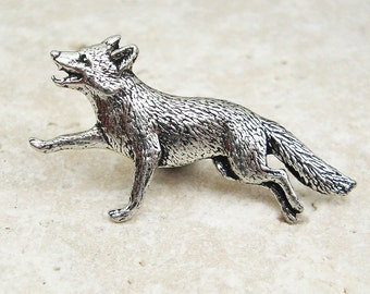 Fox Tie Pin. Antiqued Pewter Tie Tack Pin