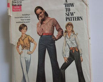 Simplicity Pattern #8009 Jr. Shirt and Bell Bottom Pants from 1968!  Size Jr. 9