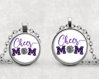 Cheer Mom Necklace Black and Purple Cheer Pom Pom Pendant, Glass Cabochon Purple and Black Cheerleading Jewelry, Royal Purple School Spirit