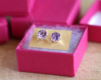 925 Sterling silver stud earrings with natural faceted Amethyst gemstones