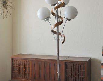 Mid Century Modern Tension Pole Lamp Globe U0026 Bentwood Teak Ribbon | Danish  Modern Sculpted Extension