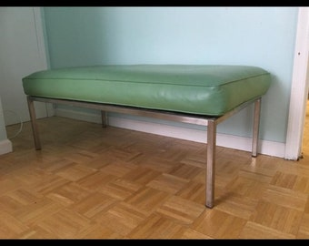 Retro Milo Baughman Style Mint Leather and Chrome Ottoman - Bench