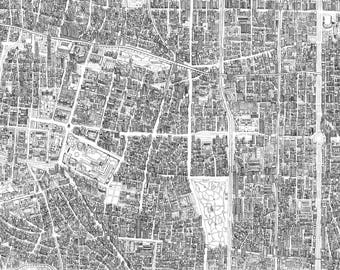 Taipei City hand drawn map from birds eye perspective. Giclee Print