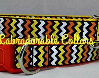 Dog Collar Candy Corn Chevron dog collar